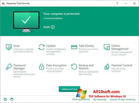 સ્ક્રીનશૉટ Kaspersky Total Security Windows 10