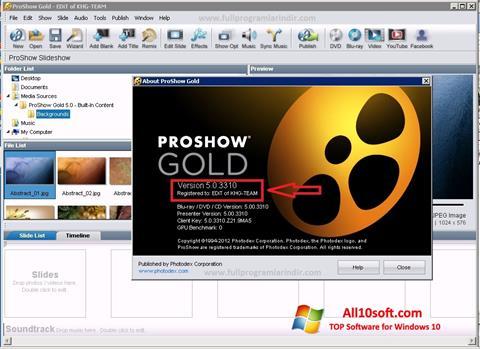 સ્ક્રીનશૉટ ProShow Gold Windows 10