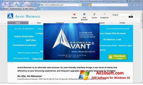 સ્ક્રીનશૉટ Avant Browser Windows 10