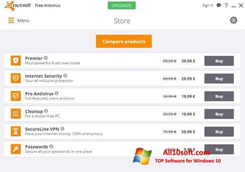 સ્ક્રીનશૉટ Avast Free Antivirus Windows 10