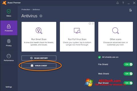 સ્ક્રીનશૉટ Avast Windows 10