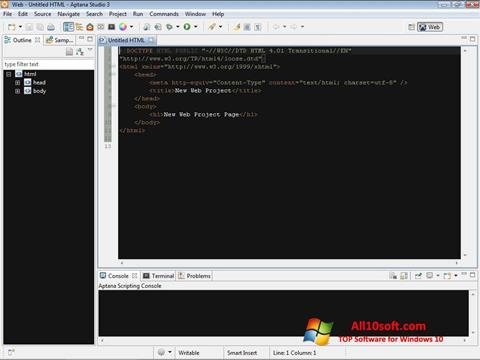 સ્ક્રીનશૉટ Aptana Studio Windows 10