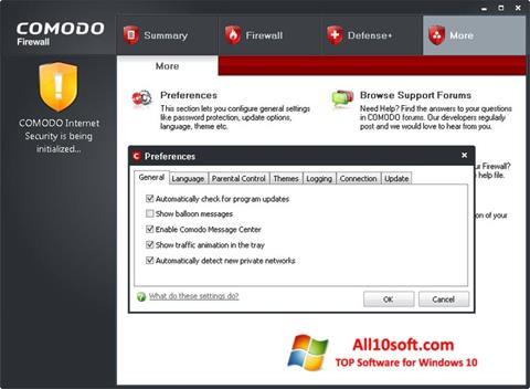 સ્ક્રીનશૉટ Comodo Firewall Windows 10
