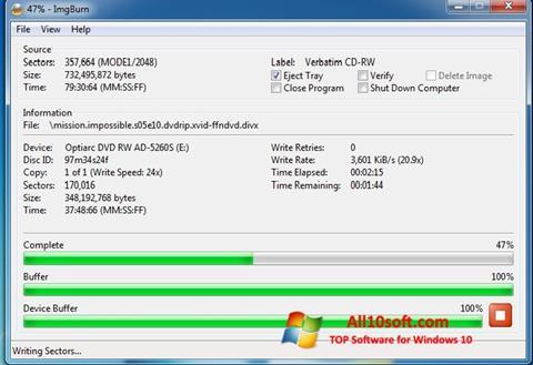 સ્ક્રીનશૉટ ImgBurn Windows 10
