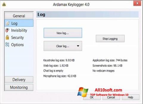 સ્ક્રીનશૉટ Ardamax Keylogger Windows 10