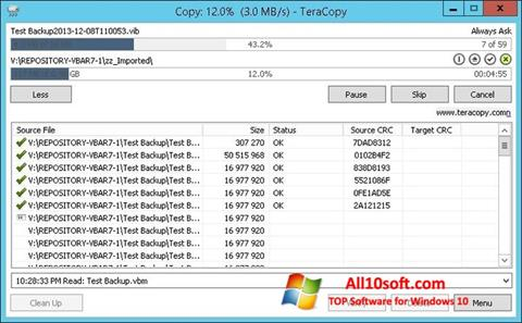 સ્ક્રીનશૉટ TeraCopy Windows 10