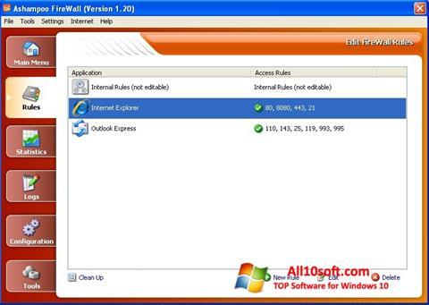 સ્ક્રીનશૉટ Ashampoo Firewall Windows 10