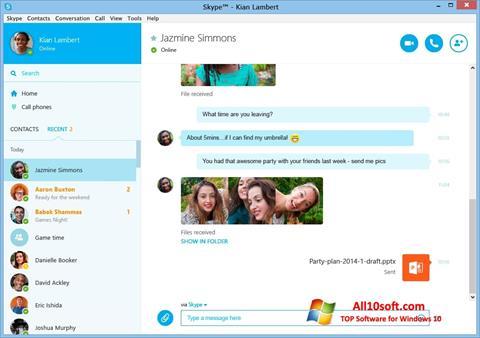 સ્ક્રીનશૉટ Skype Windows 10