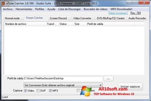 સ્ક્રીનશૉટ aTube Catcher Windows 10